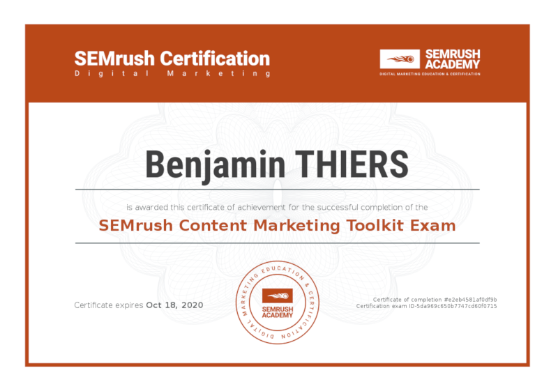 Certificat SEMrush