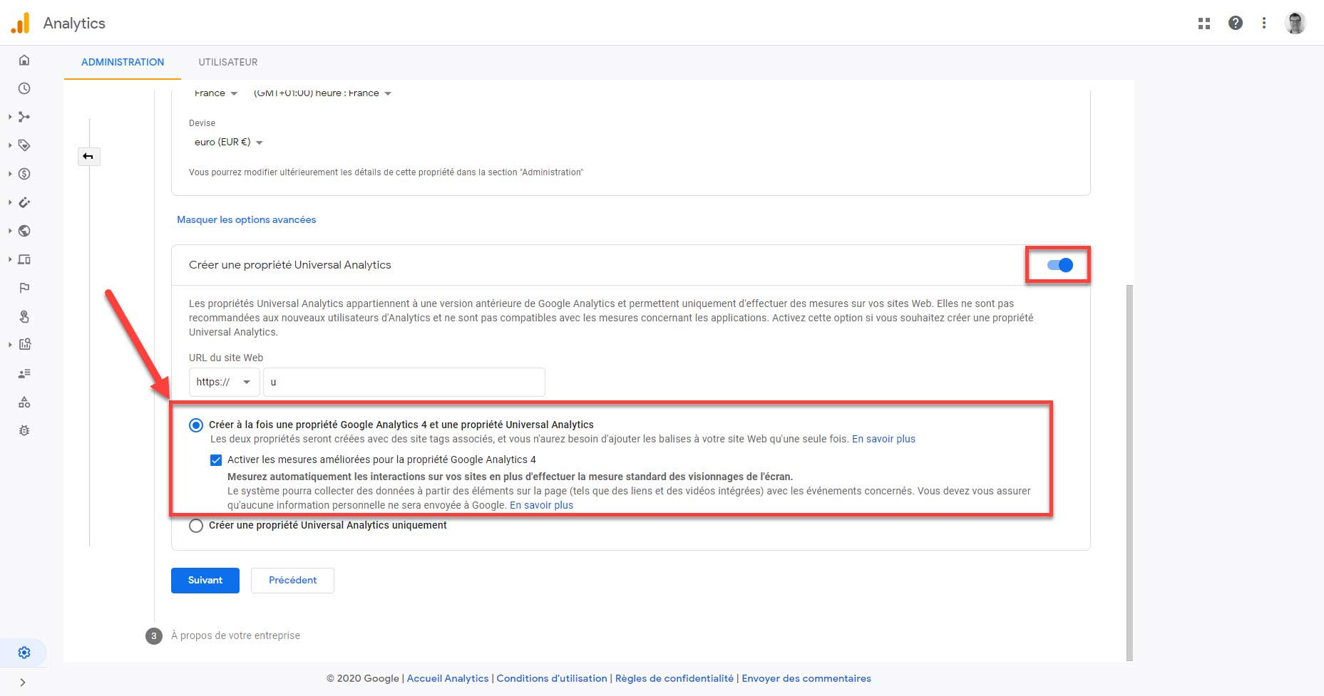 google universal analytics propriété GA4 et universal analytics
